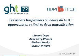 Introduction - Mutualisation des achats induits par la loi des GHT