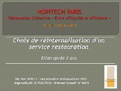 Session restauration - Restauration collective entre efficacité et efficience