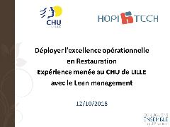 Session restauration - Lean Management au CHU de Lille. Une application dans le secteur de la Restauration