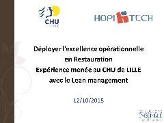 Session restauration - Lean Management au CHU de Lille. Une application dans le secteur de la Restauration