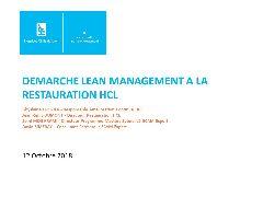 Session Restauration - Lean management restauration HCL